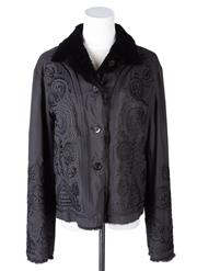 Sale 8550F - Lot 168 - A reversible black rabbit fur and patterned waxed cotton button up jacket, size M.