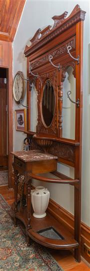 Sale 8649A - Lot 23 - A late Victorian kauri pine hallstand with oval mirror, marble top and drawer, H 225 x W 121 x D 38cm