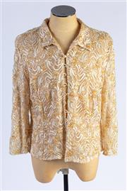 Sale 8926H - Lot 9 - A lace and sequined jacket with faux pearl buttons in golds, together with a neck scarf with gold beaded edges, size 12