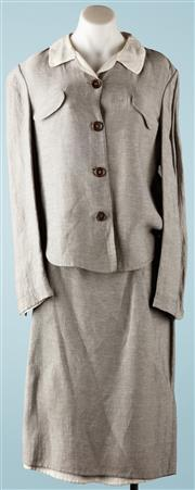 Sale 9090F - Lot 119 - A JIL SANDER SUIT COMPRISING SKIRT & JACKET; grey with cream contrast collar and lining, 53% linen 47% rayon, size 40.