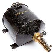 Sale 9054E - Lot 41 - A vintage black enamelled and gilt painted metal gunpowder dispenser with wall mounts. Height 25cm
