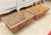 Sale 9060H - Lot 98 - Two matching antique timber strawberry pickers troughs, one with handle. Each width 49cm