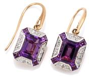 Sale 9083 - Lot 496 - A PAIR OF DECO STYLE AMETHYST AND DIAMOND EARRINGS; emerald shape plaques each centring an emerald cut amethyst surrounded by 10 rou...