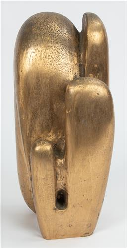 Sale 9130H - Lot 93 - G.Porter cast metal free form sculpture in a gold finish. signed to base 92 Height 45cm