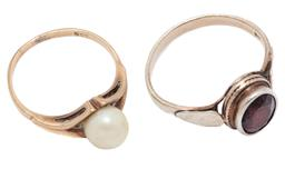Sale 9209J - Lot 310 - GOLD AND SILVER STONE SET RINGS; one in 9ct set with a 7mm round cultured pearl, size M, wt. 2.25g, other silver gilt set with a 9 x...