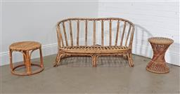 Sale 9255 - Lot 1210 - Cane 2 seater lounge and 2 side tables (h:65 x w:120 x d:54cm)