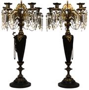 Sale 8015A - Lot 77 - A pair of Regency-style gilt bronze six light candelabra with crystal lustres and onyx socle