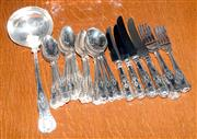 Sale 8015A - Lot 85 - Assorted silver plated cutlery in the King's pattern (four forks four knives 16 spoons) plus one ladle by R.F. Wilding.