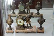 Sale 8047 - Lot 9 - An Early 20th Century French Clock Garniture by Vincenti & Cie with a Putto Playing Pan Pines and  Pair of Pendant Vases (key and pe...
