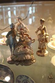 Sale 8032 - Lot 12 - Pair of Continental Figures and Dresden Figural Group