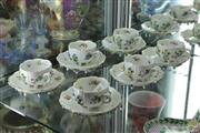 Sale 8256 - Lot 46 - Meissen Style Floral Encrusted Set of 6 Cups & Saucers