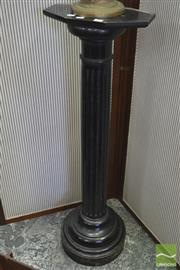 Sale 8282 - Lot 1068 - Late Victorian Ebonised Pedestal; with turned fluted column