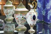 Sale 8348 - Lot 63 - Royal Crown Derby Miniature Ewer with a Samson Famille Rose Lidded Container (AF & converted to lamp)