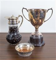 Sale 8486A - Lot 65 - An EP trophy, H 33cm, together with an EP and glass claret jug