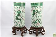 Sale 8630 - Lot 8 - Pair of Chinese Green Dragon Stick Stands with Timber Stands - wedding gift Hong Kong 1958
