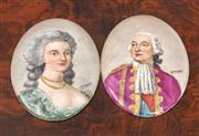 Sale 8804A - Lot 28 - Two Limoges porcelain plaques painted with the portraits of Louis XVI and Marie Antoinette signed Garnier, Height x 10cm