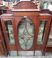 Sale 8993 - Lot 1058 - Good Edwardian Inlaid Mahogany Display Cabinet, with fine floral inlays, of stepped form with low back, the central oval astsragal d...