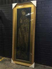 Sale 9031 - Lot 1020 - Large Gilt Framed Rubbing, of a Medieval knight (250 x 97 cm)
