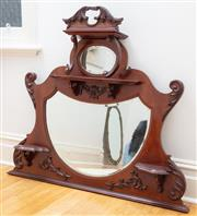 Sale 9070H - Lot 161 - An Art Nouveau mahogany overmantle hallmirror, with central shield shaped bevelled mirror, Height 108cm x Width 122cm, Depth approx...