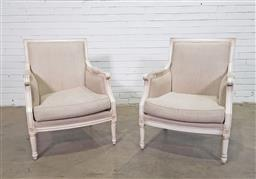 Sale 9151 - Lot 1253 - Pair of White Louis XVI Style Armchairs