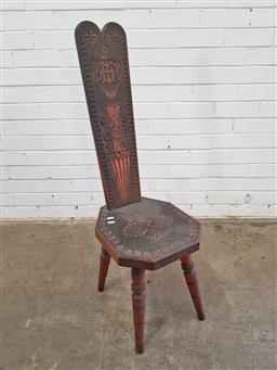 Sale 9157 - Lot 1011 - High back sitting room chair with monogramed back (h:95cm)
