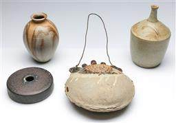 Sale 9168 - Lot 97 - Collection of studio pottery inc vases and a hanging example (H:20cm)