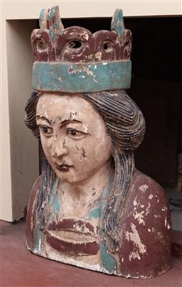 Sale 9190H - Lot 162 - A painted timber ship figurehead, Height 74cm