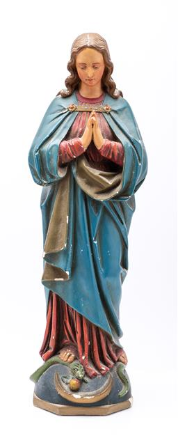 Sale 9185 - Lot 44 - A plaster figure of Mary - chips apparent (H:54cm)