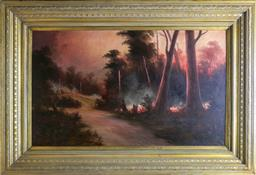 Sale 9210A - Lot 5027 - ARNOLD JARVIS (1881 - 1960) Approaching Bushfire oil on board 74 x 128 cm (frame: 110 x 161 x 8 cm) signed