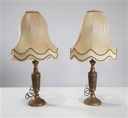 Sale 9255 - Lot 1156 - Pair of brass table lamps (h:65cm)