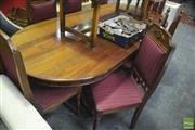 Sale 8299 - Lot 1019 - Timber Dining Setting incl. Table & Set of Eight Chairs