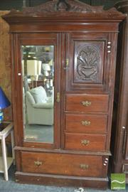 Sale 8409 - Lot 1700 - Carved Timber Mirrored Wardrobe with Single Drawer to Base