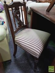 Sale 8447 - Lot 1077 - Blue & Cream Striped Wooden Framed Chair