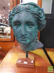 Sale 8447 - Lot 1011 - A Verdigris Head of Aphrodite on Timber Plinth, measurements: 48cm high, composition: plaster & fiberglass