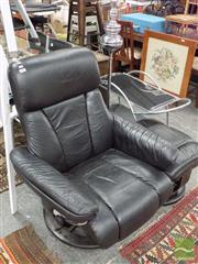 Sale 8465 - Lot 1650 - Modern Leather Recliner & Foot Stool