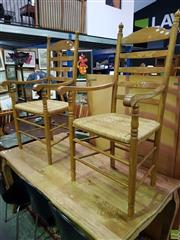 Sale 8562 - Lot 1055 - Pair of French Provincial Style Carver Chairs with Rush Seat