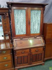 Sale 8566 - Lot 1397 - Timber Bureau Bookcase with Two Glass Panel & Curtained Doors