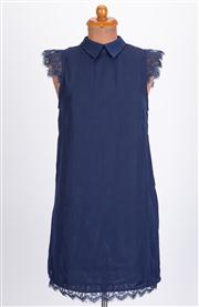 Sale 8640F - Lot 48 - A Daphnea, Paris navy collared dress with lace sleeves and hem, size small.