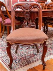 Sale 8649A - Lot 25 - Six Victorian mahogany spoon back dining chairs with eight carved splat and dusty velvet seats, carved cabriole legs to front, heigh...