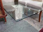 Sale 8672 - Lot 1080 - Glass Top Coffee Table on Travertine Base