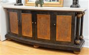Sale 9070H - Lot 139 - A marble topped four door Italianate Credenza with pressed gilt door panels raised on compressed bun feet, Height 86cm x Width 183cm...