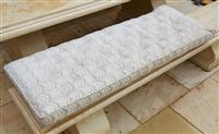 Sale 9080H - Lot 68 - A window seat cushion in cream with red and green decoration. 54x145cm