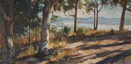 Sale 9109 - Lot 564 - Pamela Thalben-Ball (1927 - 2012) Tingirania Lookout, Noosa oil on board 49 x 101 cm (frame: 69 x 112 x 4 cm) signed lower right, ti...