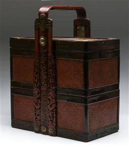 Sale 9138 - Lot 147 - A Carved Timber and Woven Cane Chinese Food Carrier (H:45cm W:35cm D:10cm)