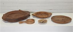 Sale 9146 - Lot 1052 - Collection of 5 graduated rustic bowls and serving spoons