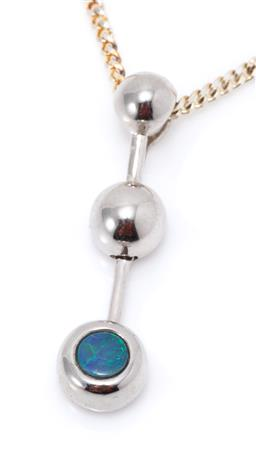 Sale 9182 - Lot 324 - A SILVER OPAL PENDANT; bead and bar drop set with a round opal doublet, size 30 x 7mm, wt. 2.33g, on a metal chain.