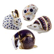 Sale 8000 - Lot 122 - A group of four Royal Crown Derby Imari pattern paperweights comprising a hedgehog, badger, rabbit and a field mouse.