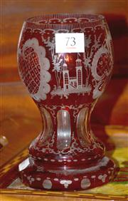 Sale 7997 - Lot 73 - A FINELY ETCHED EUROPEAN RUBY FLASHED VASE C.1900