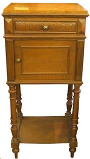 Sale 8258A - Lot 8 - French walnut Louis XVI style marble topped nightstand, RRP $950,  W42 x D33.5 x H90cm