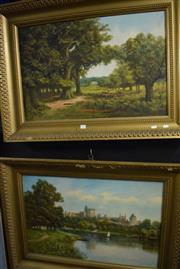 Sale 8346 - Lot 2029 - J. Lewis (XX) (2 works)  European Country Scene & European Town Scene with River, acrylics on canvas, 50 x 75cm, each signed lower